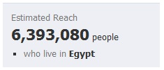 Facebook users in Egypt in March 2011