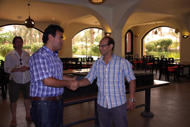 Ahmed EL Gohary - Internet Department receiving his award from Waguih William